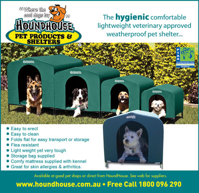 HOUNDHOUSE PET PRODUCTS & SHELTERS - The only hygienic comfortable lightweight veterinary approved weatherproof pet shelter...