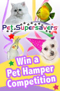 Win a pet hamper for your pet valued at $200 full of pet products of your choice of animal type!  Pet Supersavers has products for dogs, cats, birds, aquarium fish, reptiles, guinea pigs, rabbits, mice, ferrets even farm and horse products!
