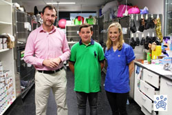 Twelve-year-old Tim Brandt spent his last day of summer holidays as a 'future vet' with Bondi Vet stars Dr Lisa Chimes and Dr Andrew Marchevsky at the Small Animal Specialist Hospital (SASH), the home of the popular TV series.