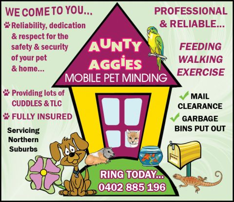 Aunty Aggies mobile pet minding service logo